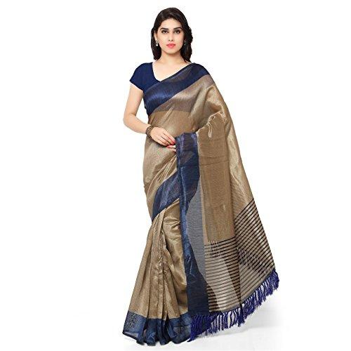 Rajnandini Women's Tussar Art Silk Saree (Joplnb3011A, Blue, Free Size)