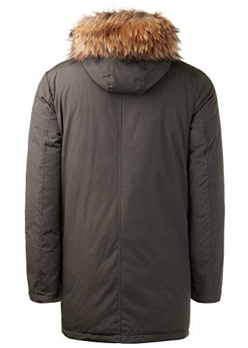 Burocs Herren Parka Winter-Jacke Kunst-Fell Imitat Kapuze Schwarz Khaki BR1625, Größe:XXL, Farbe:Khaki - 6
