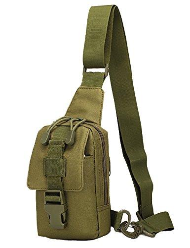 Menschwear Borse Vintage Borsa a Spalla Piccolo Tasca di Tela Trekking Outdoor Borsello Chest Bag per Sport Tasche Viaggio Marsupio Militare Camuffare 1 Verde