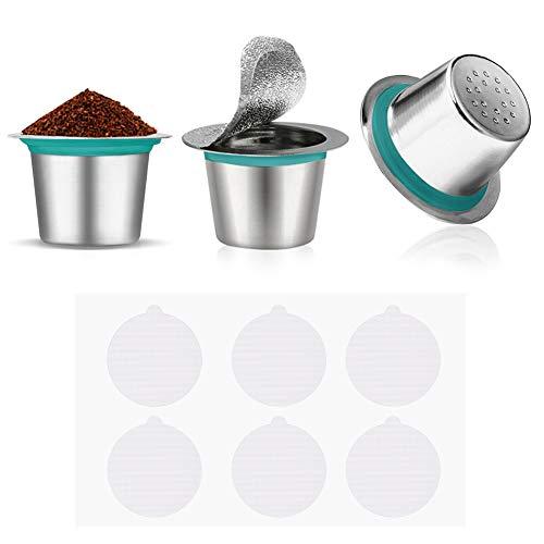 Cápsulas de café reutilizables de acero inoxidable, 3 unidades, filtro de café expreso con 60 tapas...