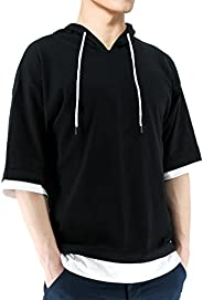 BROKIG Men's Short Sleeve Hoodie Sportwear Lightweight Sweatshirt Solid Fashion Hooded T-S