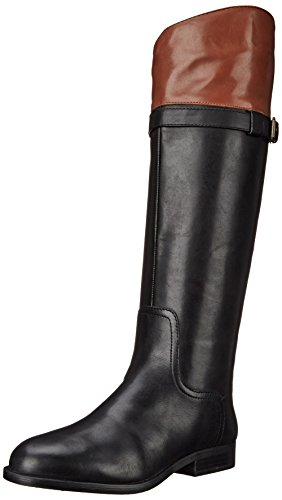 Nine West Women's Velika Leather Knee High Boot, Black/Dark Natural, 5.5 M US (Nine Knee Boots High West)