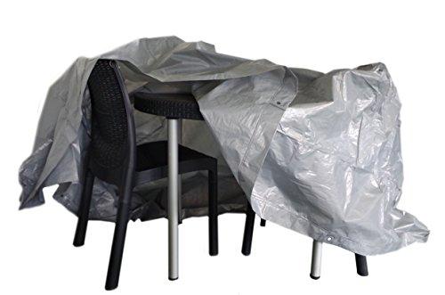Chalet et Jardin B215*90-90-S Housse de Protection pour Table Ronde avec Chaises de Jardin Argent 215 x 90 cm