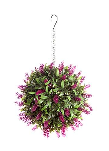 Best Artificial (TM) Suspension boule de lavande artificielle avec longues feuilles d'un vert luxuriant Protection anti-décoloration contre les rayonnements du soleil Rose 24cm