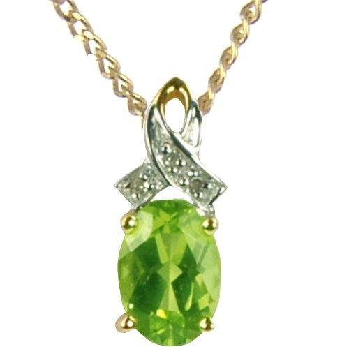 Pendentif - 9 - BP9430PER - Colgante de mujer de oro amarillo (9k) con 4 diamantes y peridotos, 45 cm