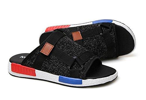 Uomini Slip On Sandali Pattini estivi Pattini casuali Pantofole traspiranti della tela di canapa Un pattino dei mocassini del pedale Black