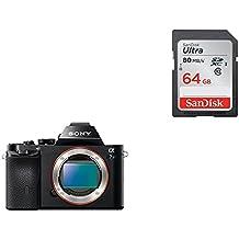 Sony Alpha ILCE7S/BQ - Cámara EVIL (sensor Full Frame 35 mm, 12.2 Mp, ISO 409600, procesado en 16 bits, visor OLED, vídeo Full HD, Wi-Fi y NFC, sólo cuerpo) color negro + SanDisk SDSDUNC-064G-GZFIN Ultra Tarjeta de memoria SDXC de 64 GB (hasta 80 MB/s, Clase 10 FFP)