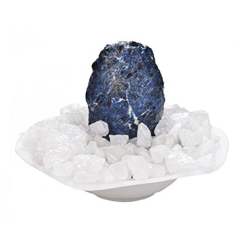 Mysale24 Zimmerbrunnen | Sodalith Stein | mit Bergkristall Chips | Glasschale und Pumpe