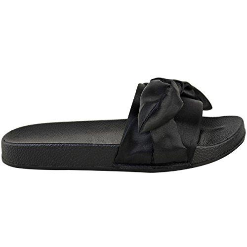 Donna Basse comodo fiocco passanti Rasi pantofole sandali estivi Scarpe Numeri NERO SATINATO