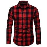 Camisa de Manga Larga, Camisa de Manga Larga de Solapa Casual a Rayas de Negocios de Primavera y otoño para Hombres_Internet(Negro/Azul/Caqui S-2XL)