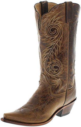 Justin Boots L4332 C Tan Damian/Damen Westernreitstiefel Braun/Damenstiefel/Reitstiefel/Western Riding Boots, Groesse:35 (5 US) - Justin Western Cowboy Stiefel
