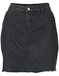 Mounter Damen Hohe Taille Casual A-Line Denim Distressed Figurbetont Kurz Jean  Rock Mini Rock Stretch Tight Spitze bis Schlitz… cf8b70f4ad
