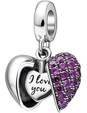 I Love You Charms-Herz Baumeln Charm 925 Sterling Silber Perle für European Charms Armband
