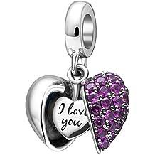 Abalorio de plata de ley 925, para pulsera mujer, diseño de corazón