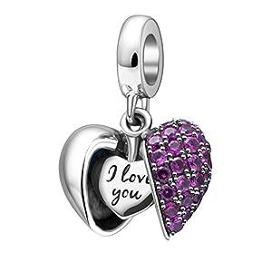 "Herz-Anhänger mit der Aufschrift ""I love you"", 100% echtes 925er-Sterlingsilber, Kristall, Anhänger passend für europäische Armbänder"