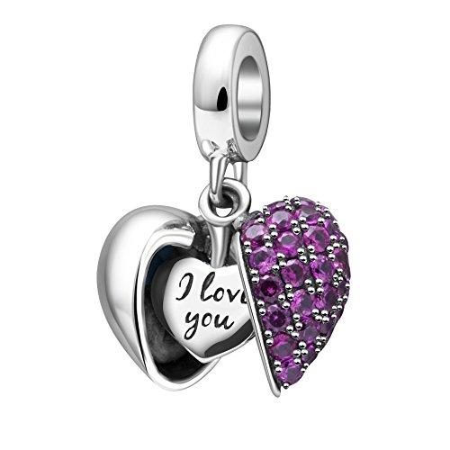 Charms Pandora Schmuck (I love you Bead 100% echtem 925 Sterling Silber Kristall Herz Charms Anhänger für Dame Armbänder)