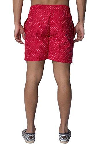 Hommes Kangol Fenway Short Natation Designer Pointillé Surf Shorts De Plage Rouge