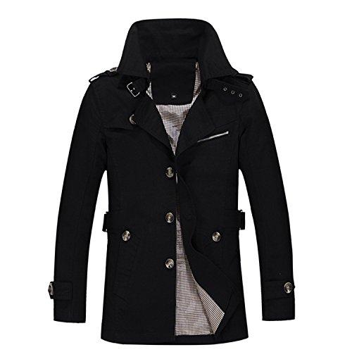Ecollection®Maenner Baumwoll Schlank beilaeufige Fitting Trench Mantel Black