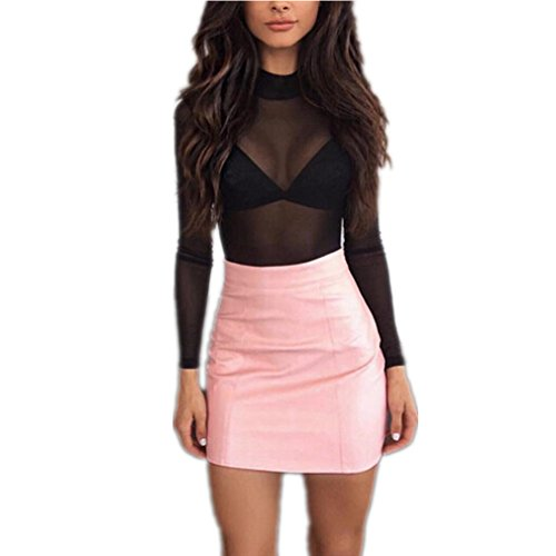 Kolylong Women Sexy Leather High Waist Pencil Skirt Bodycon Slim Short Mini Skirt
