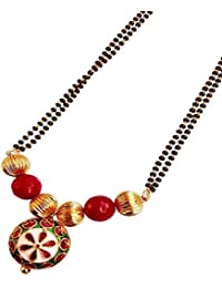 Deara Ethnic Red Jade Stone Beaded And Gold Plated Mangalsutra For Women