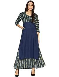 Amayra Casual 3/4 Sleeves Navy Blue Printed Women's Kurti - B074KJV55X