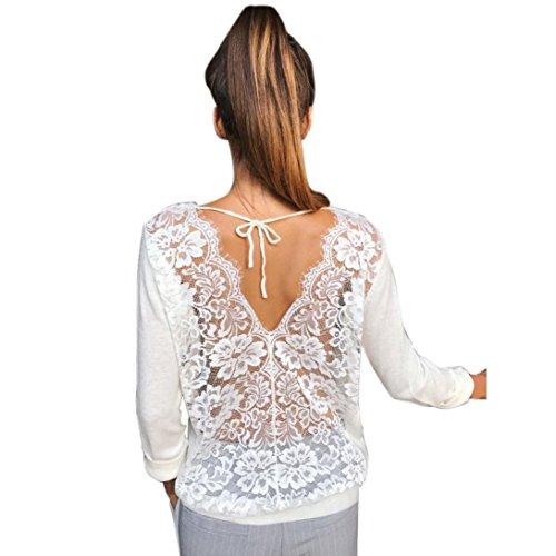 VJGOAL Damen Bluse, Frau Mode Rückenfreie Spitze Oansatz Langarm-Sweatshirt Pullover Perspektive Shirt Sommer Frühling Tops (S, Weiß)