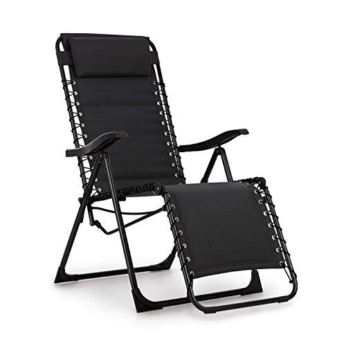 Blumfeldt California Dreaming Sonnenliege • 4 cm hohe Polsterung • verstellbare Rückenlehne • Stahlrahmen • abnehmbares und höhenverstelbares Kopfkissen • PureRelaxation System • ergonomisch • schwarz - Doppel-liege Stuhl