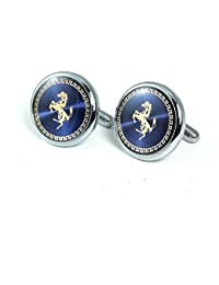 Miami Men Branded Jewellery Valentine Gifts Stylish Silver Shirts Blazer Blue silver Horse round Branded Cufflinks set for Men Boys Boyfriend Husband with Gift Box -Cufflink-103
