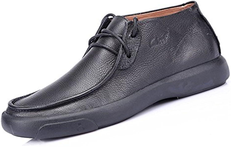 Hombres casual zapatos de cuero zapatos de cuero Casual para hombre pop europeo suelto zapatos cómodos,Black,Cuarenta  -