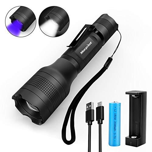 2 in 1 UV Lampe, Morpilot USB wideraufladbare uv Taschenlampe, Schwarzlicht und Weißes Licht, 500lm, 395nm Ultraviolett, Detektor für Urin von Haustiere, inkl. 18650 Batterie