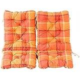 Ambientehome Juego de 2cojines acolchados para silla plegable de cuadros, color naranja, ca 90x 40x 8cm, cojín asiento