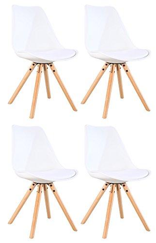 OYE HOYE Retro Designer Stuhl Esszimmerstühle Wohnzimmerstühl, mit Bequem Gepolstertem Sitz, aus Hochwertigem Strapazierfähigem Kunststoff und Buchenholz - Weiß/4er Set