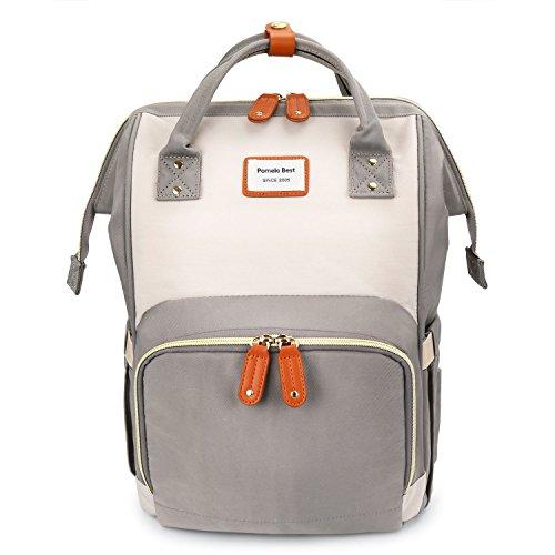 Baby Wickelrucksack Macaron Wickeltasche mit wasserdicht Wickelunterlage Große Kapazität multifunktional Babytasche Reiserucksack für Unterwegs (Elfenbein mit Grau)