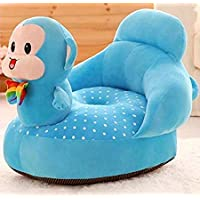 Besties Cotton Toddlers Training Seat Baby Safety Sofa Dining Chair/Learn to Sit Stool, 3-12 Months (Blue-Monkey Sofa…