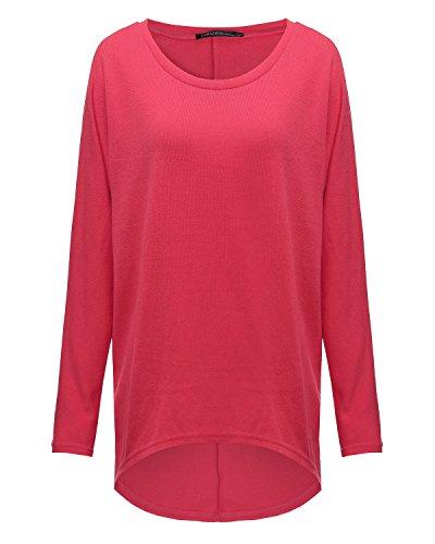ZANZEA Donna Maglia a Manica Lunga Cardigan Asimmetrico Camicia Pullover Camicetta Superiore Rosso 2