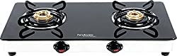 Hindware Neo GL 2B Stainless Steel 2 Burner Cooktop, Black