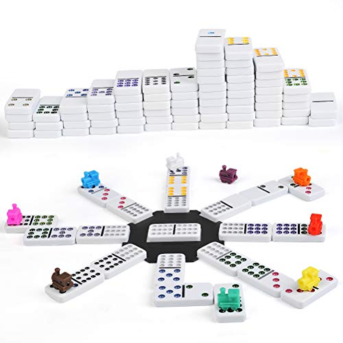 FOCCTS 91pcs Mexican Train Dominos -9 trains -Dominos de train mexicains Jeu de domino pour enfant et adulte