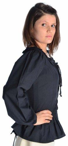 HEMAD Camicetta medievale femminile - Pizzo anteriore e posteriore - Puro cotone – S-XXXL Verte, Beige, Nero, Bianco Nero