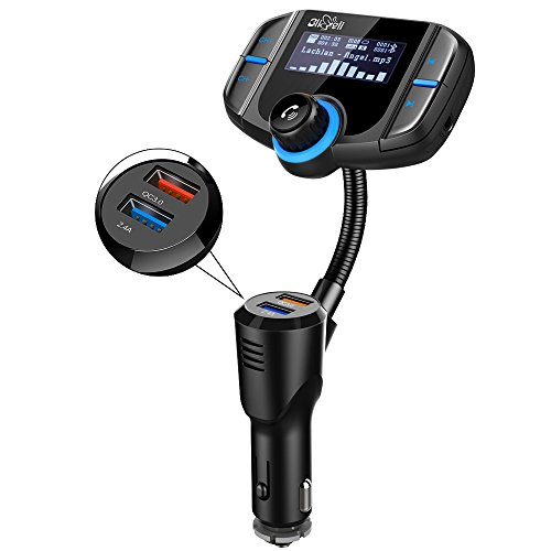iGli Dual-USB-Kfz-Ladegerät Bluetooth FM Transmitter, AUX-Eingang & 1,7-Zoll-Display für die Übertragung von Musik aus TF-Kartenslot, iOS und Android-Geräte, Car Kit Wireless Radio Audio Adapter Unterstützung Freisprecheinrichtung (Bluetooth Car Kit Mp3-player)