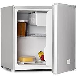 Klarstein 50L1-SG • mini frigo bar • 40 L • 47 x 49,5 x 44,4 cm • silenzioso • 1 ripiano • scompartimento per bevande • piccolo freezer con ghiotta • temperatura regolabile • argento