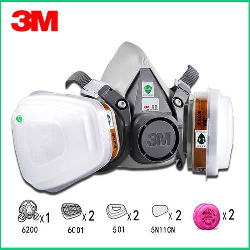 RongAIy 9in1 3M 6200 Halbmaske Atemschutzmaske Mit 6001/2091 Filter Fit Malerei Sprühen Staubdicht (9in1 mask)