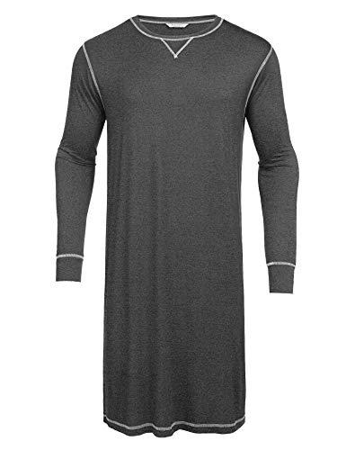 EKOUAER Herren plus size-Nachtkleid Langarmshirt Nachtwäsche henley schlaf Shirts XL Dunkelgrau
