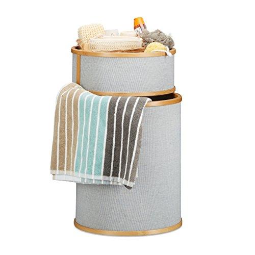 Relaxdays 10021484 cesto portabiancheria in bambù cesta per biancheria tonda 42 l 2 pezzi con coperchio 63 x 38 x 38 cm beige grigio