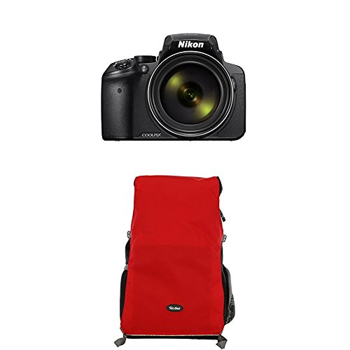 Nikon Coolpix P900 Digitalkamera (16 Megapixel, 83-fach optischer Megazoom, 7,5 cm (3 Zoll) RGBW-Display mit 921.000 Pixel, Full-HD-Video, Wi-Fi, GPS, NFC, bildstabilisiert) schwarz (DE Version)+Rollei Traveler Fotorucksack Canyon L Red
