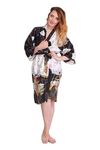 Kimono Mujer japonesa negro - bata corta elegante
