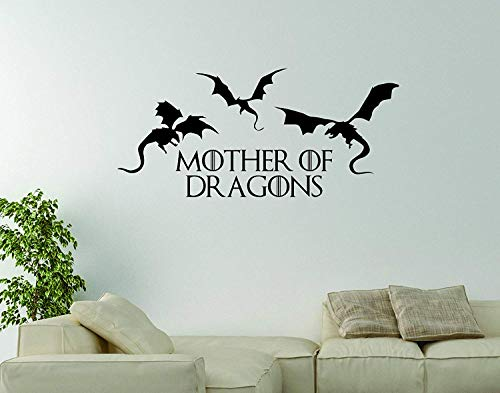 wandaufkleber sterne leuchtend Vinyl Wall Word Decal Mother of Dragons Inspired by Game of Thrones Home Decor Khaleesi (Dragon Decals)