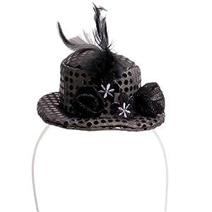 Folat Mini Sombrero Sombrero Mini Gorro Cilindro Negro Boda Noche de Gala Party Aben