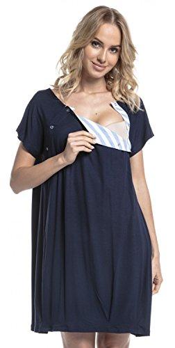 HAPPY MAMA Damen Geburtskleid Krankenhaus Umstands Nachthemd Stillfunktion. 097p (Marine, 38-40, S)