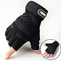 7y/dy/ Sturdy Men Women Weight Lifting Riding Gloves Bodybuilding Fitness Wrist Wrap Exercise(None L BK-L)