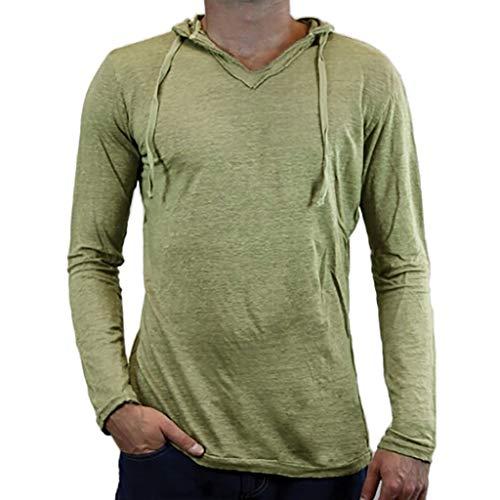 Herren Hooded Sweat Sweatshirt Licht Langarm V-Neck Dünn Freizeite Bequem Langarmshirt Hooded Tee Licht